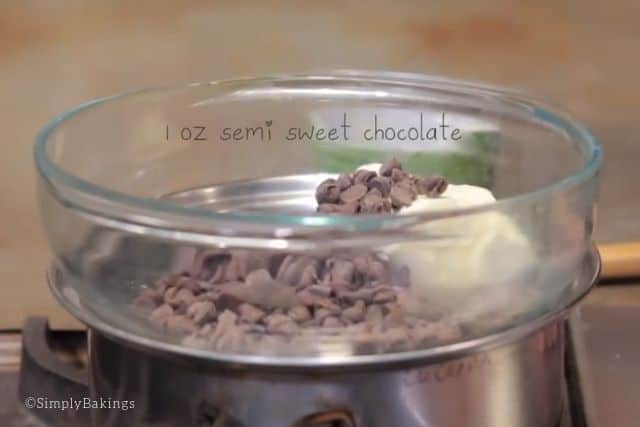 melting the butter and mini semi sweet chocolate chips