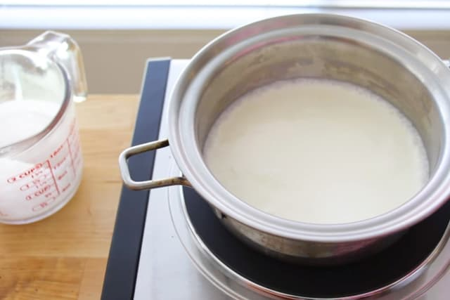 heating milk in a saucepan
