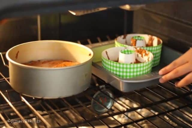 baking the milk chocolate cake in an oven