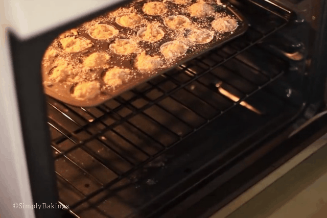 placing the muffin pan inside the oven