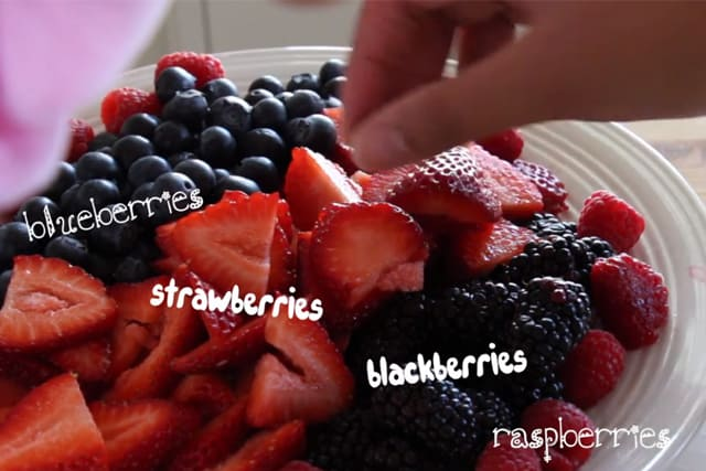 fresh blueberries, blackberries, and sliced strawberries to be used for the White Chocolate Fruit Tart