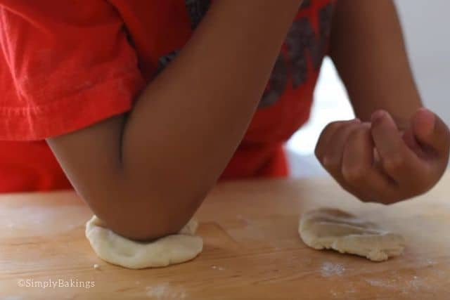 shaping the dough using the fist