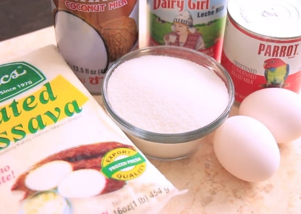 frozen grated cassava, coconut milk, sweetened condensed milk, evaporated milk, granulated white sugar, eggs for cassava cake recipe