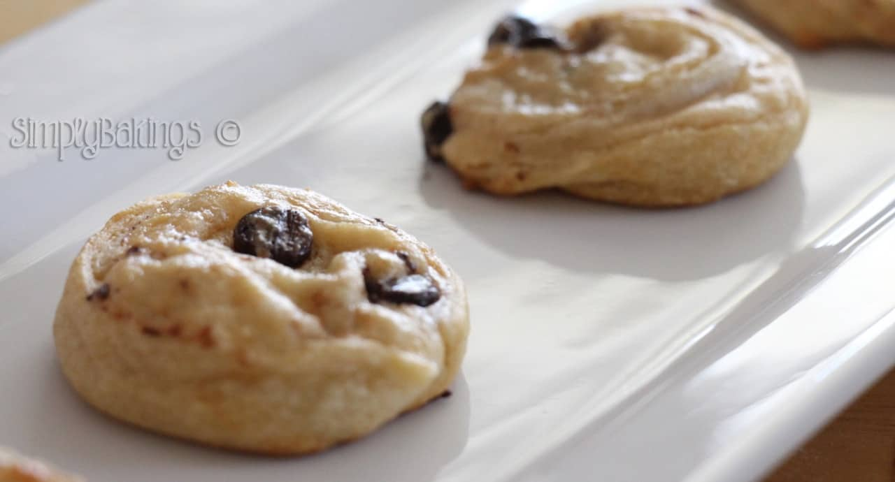 chocolate chip cream cheese cookies on a white plate
