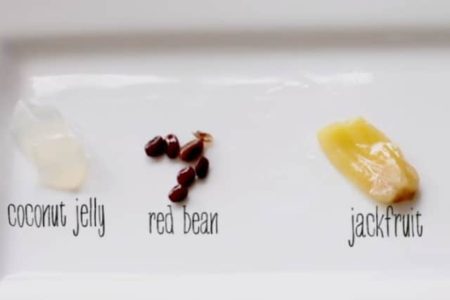 coconut jelly, red bean, and jackfruit for halo halo recipe