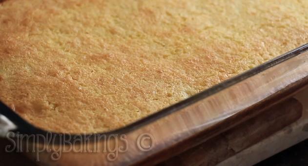 lemon bars in a glass pan