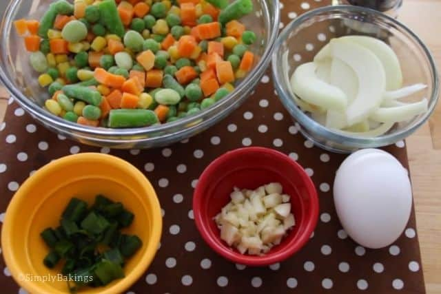 ingredients for Fried rice recipe