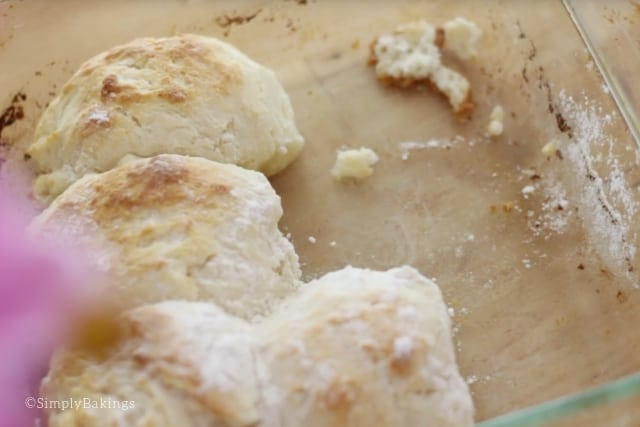 freshly baked 7-up biscuits in a clear baking dish