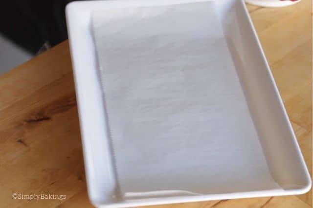 a plate lined with parchment paper