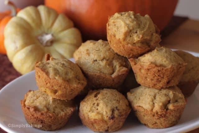 Mini pumpkin spice muffins on a white plate