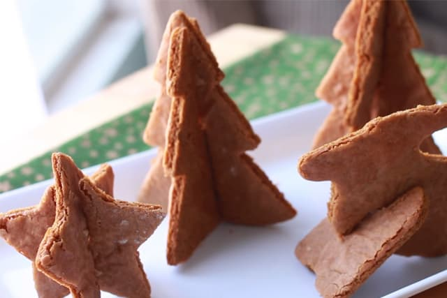 Christmas Tree, Star and Reindeer 3D Gingerbread Cookies on a white plate