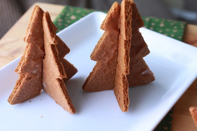 3D Christmas Tree Gingerbread Cookies on a white plate