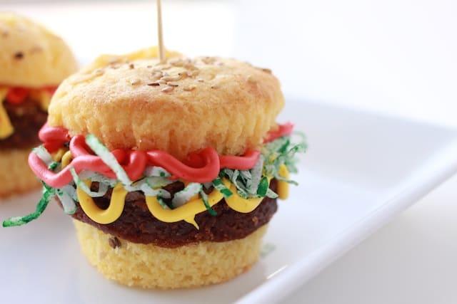 hamburger cucpakes on a white plate