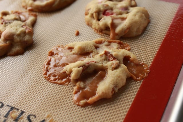 splattered caramel inside the caramel pretzel cookies