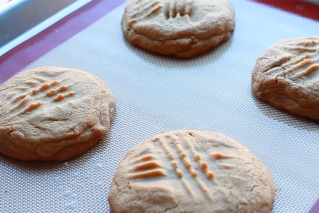 freshly baked peanut butter cookies with a twist