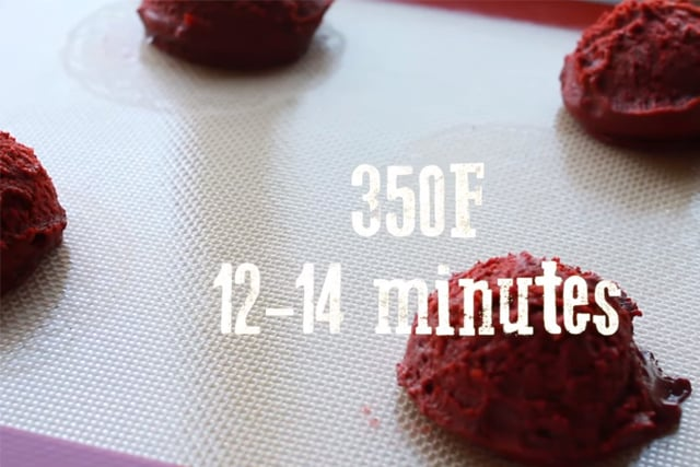 ready to bake Red velvet cookie dough on a baking mater