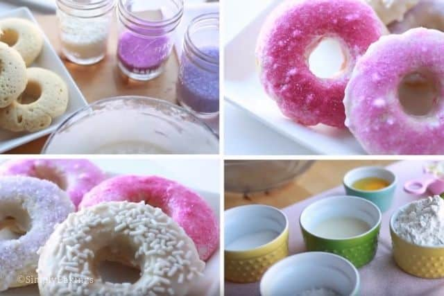 photo collage of vanilla donuts recipe