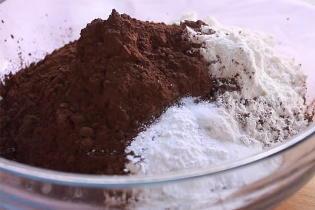 mixing the dry ingredients in a bowl