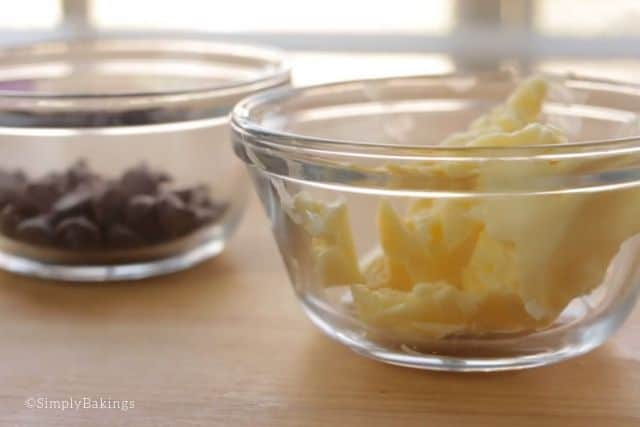 chocolate chips and butter in bowls