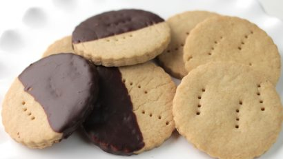 delicious shortbread cookies on a white plate