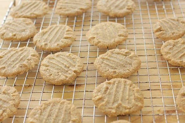 cooling cookie butter cookies on a wire rack