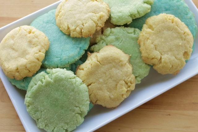 Jello cookies on a white plate