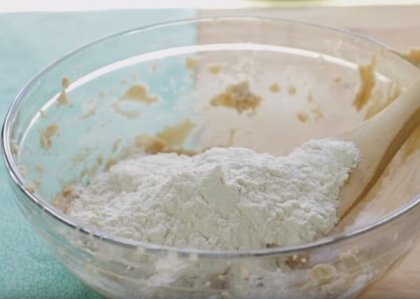 adding flour to the cookie dough mixture for no bake cookie dough bites recipe