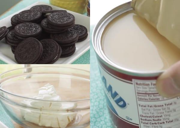 oreos, condensed milk and cream cheese
