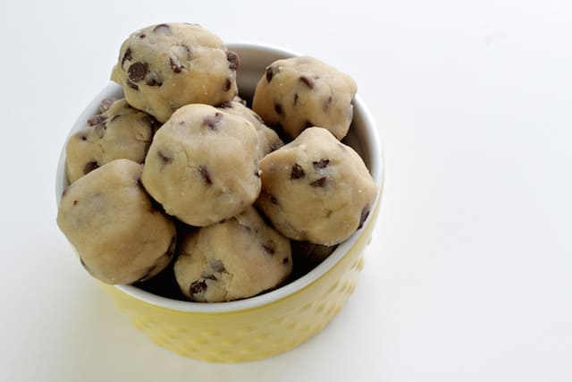 no bake cookie dough in a yellow bowl