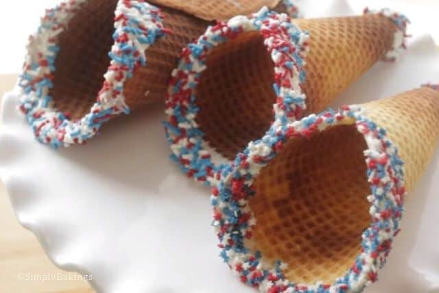 ready to use homemade waffle cones on a white plate