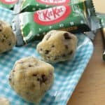 no bake green tea kitkat cookies on a checkered tray