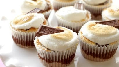 finished and deliciously baked smores cupcaked with hershey's chocolate bars