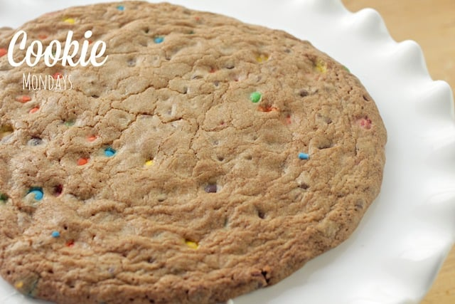 delicious cookie pizza on a cake tray