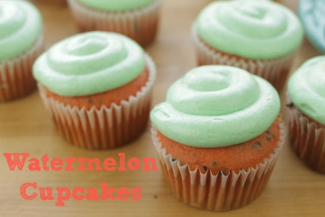 watermelon cupcakes with green buttercream frosting