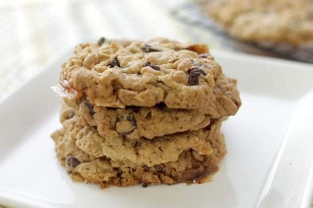 stack of rice krispies cookies on a white plate