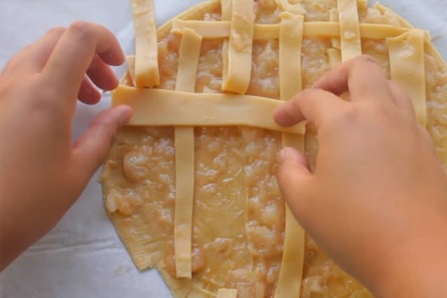 assembling the apple pie cookie crust