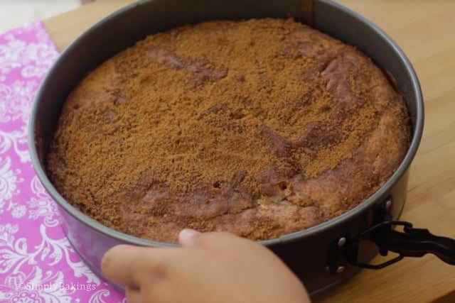 freshly baked delicious coffee cake in a spring form baking pan