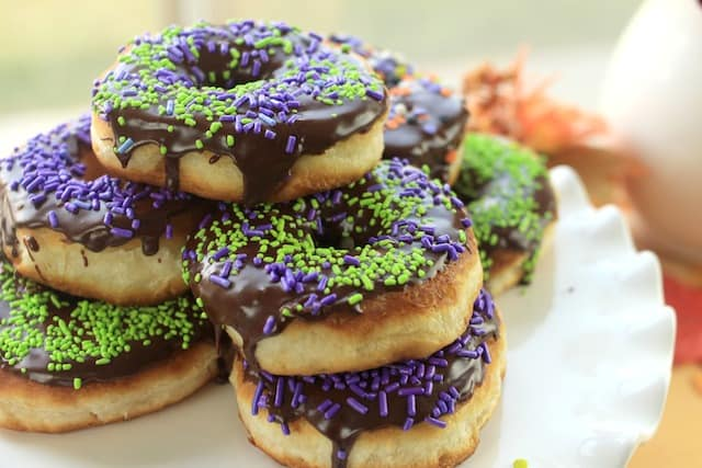 chocolate glaze Halloween donuts