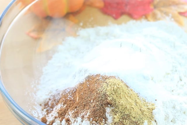 adding the chai spices to the flour