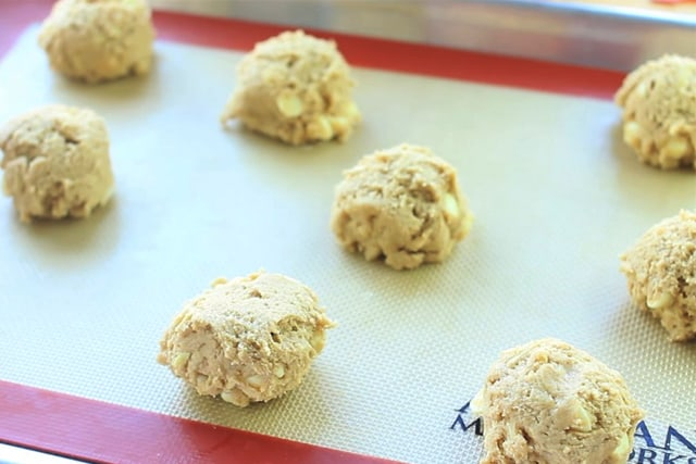 ready to bake Vanilla Chai White Chocolate Chip Cookies on a baking sheet