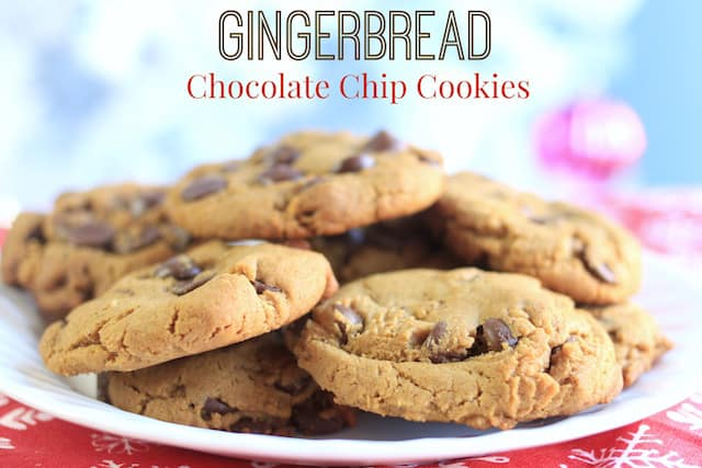 ginger bread chocolate chip cookies on a white plate