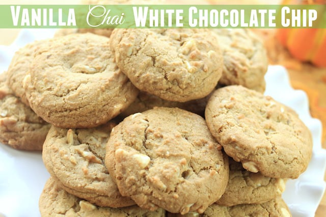 Vanilla Chai White Chocolate Chip Cookies on a white plate