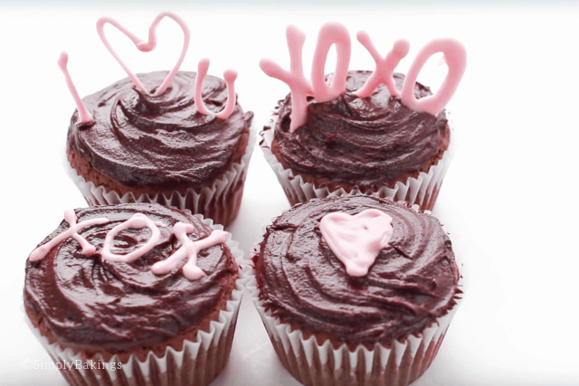 Valentine's day Nutella cupcakes decorated with candy melts
