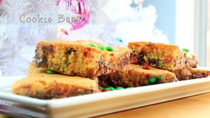 Christmas Cake Mix Cookie Bars on a white plate