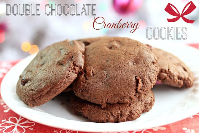 double chocolate cranberry cookies on a white plate