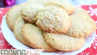 Delicious eggnog cookies on a white plate