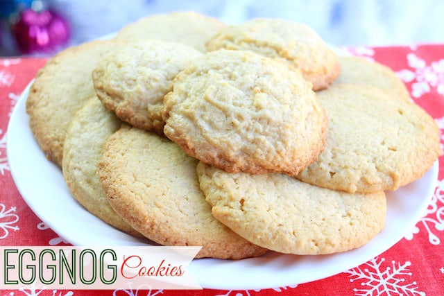 Eggnog cookies on a white plate