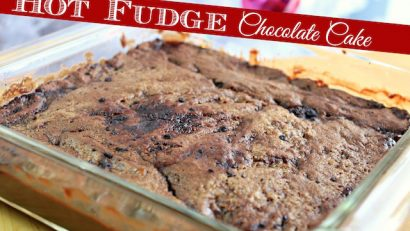 freshly baked hot fudge chocolate cake
