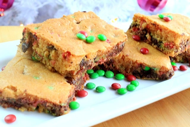 Christmas cake mix M&m bars moist and delicious