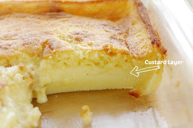 Magic Cake custard layer